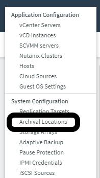 Archival Location in Rubrik Settings